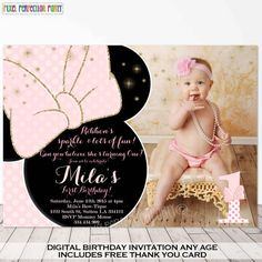 Minnie Mouse Invitation Minnie Mouse Pink and Gold Birthday Invitation Polka Dot… Minnie Mouse Theme Party, Minnie Mouse Birthday Invitations, Minnie Mouse 1st Birthday, Baby Girl 1st Birthday, Minnie Mouse Pink, Mouse Parties, First Birthday Parties, First Birthdays, Gold Birthday