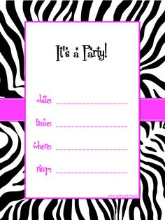 free printable zebra print baby shower invites | Black, White and Pink Zebra Striped Party Theme for Tween Girls