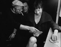 Billy Wilder and Shirley MacLaine playing cards on the set of The Apartment.