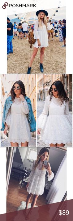 9f885ff8c66 Zara blogger fav white embroidered boho dress A-line silhouette. So dreamy  and romantic. Bell sleeves and cinch waist. Semi sheer with round neckline  with ...