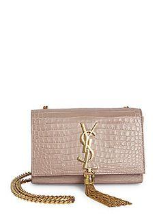 889aa902caac Saint Laurent Small Kate Monogram Tassel Croc-Embossed Leather Chain Shoulder  Bag Chain Shoulder Bag