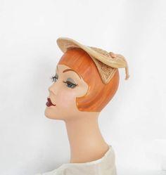 1950s 1940s hat, vintage percher fascinator, velvet peach by TheVintageHatShop on Etsy