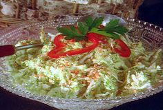 I used pre chopped coleslaw mix in the fresh foods section of Whole Foods - didn't add green pepper, etc. Used balsamic vinegar, reduced sugar to 1 Tbl spoon since balsamic has sugar. Love her seasonings! Slaw Recipes, Veggie Recipes, Cooking Recipes, Picnic Recipes, Savoury Recipes, Copycat Recipes, Paula Deen Coleslaw Recipe, Food Network Recipes, Food Processor Recipes