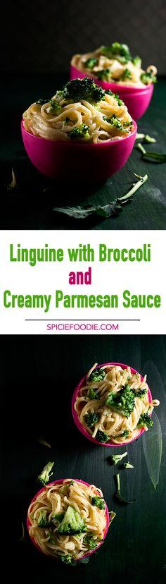Linguine with Broccoli and Creamy Parmesan Sauce | #pasta #meatlessmondays #broccoli