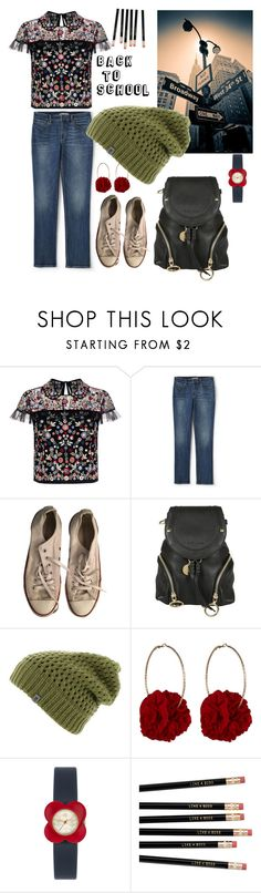 """""""Back to school"""" by blumbeeno on Polyvore featuring Needle & Thread, Lands' End, Converse, See by Chloé, The North Face, Vjera Vilicnik and Orla Kiely"""