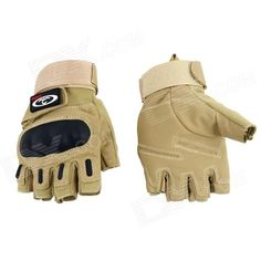 OUMILY Outdoor Tactical Half-Finger Gloves - Khaki (Size M / Pair) Price: $12.69