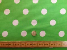PolyCotton fabric * SPOTTED POLKA DOT * LIME with WHITE SPOTS * 25 MM SPOTS