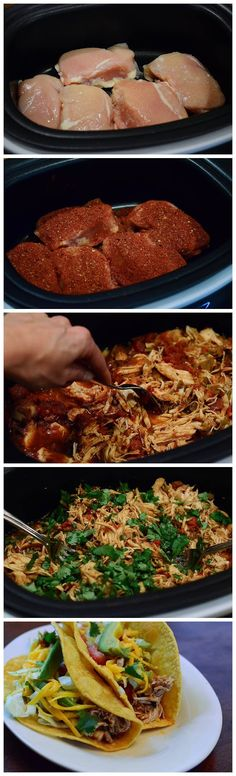 Crock-Pot Chicken Tacos.  Have to learn to make them now that Rosie's closed.