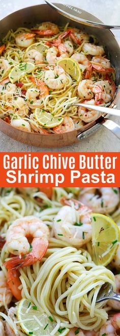 Garlic Chive Butter Shrimp Pasta (Mauviel Review)