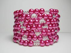 Pink pearl coil bracelet