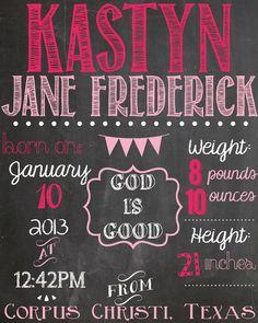 Chalkboard Baby Girl Birth Announcement | Jamey's Room | Pinterest ...