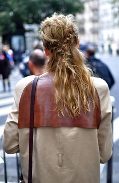 leather detail on the back of a coat. #leather #diy #coat