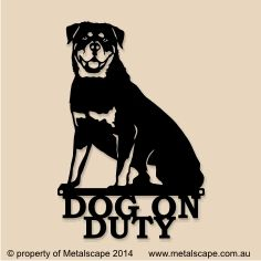 Announce to visitors entering your home that there is a dog present with our unique life like image of a Rottweiler dog, with Dog on Duty in writing below. Designed and made in Australia from high quality 2mm thick steel. Available with a Rust or Black Powder Coated finish.  Size: 230 mm (W) x 340 mm (H). Has two screw holes for easy mounting on a wall, gate or fence.