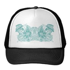 Stunning and exciting, this beautiful floral, botanical design features an eye-catching turquoise splash.  See more at www.tribalstyledesign.com or www.zazzle.com/tribalstyledesign #zazzle #hats #flowers #zazzlemade