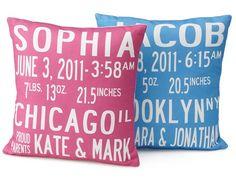 Birth announcement pillow!