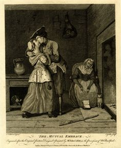 The Mutual Embrace 1774. The British Museum BMSat.4613 to 4615. Calico short gown, and he's got a patterned waistcoat. The mans coat has no cuffs just side buttons