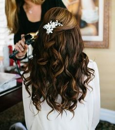 Long Brown Curly Homecoming Hairstyle