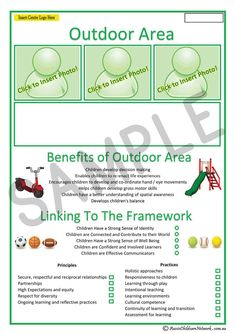 The Outdoor Area template is for a child's portfolio and consists of a typical interest area that you may have set-up in your service setting. Eyfs Areas Of Learning, Play Based Learning, Learning Environments, Learning Stories Examples, Stories For Kids, Physical Development, Child Development, Preschool Portfolio, Aussie Childcare Network