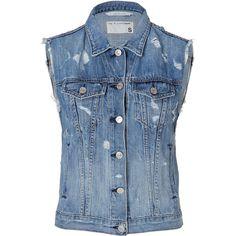 RAG & BONE Burney Vest In Tattered Denim (445 BRL) ❤ liked on Polyvore featuring outerwear, vests, jackets, tops, shirts, slim fit vest, slim vest, denim waistcoat, blue vest and blue denim vest