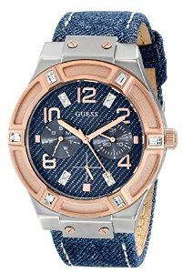 GUESS Women's Silver and Rose Gold-Tone Multi-Function Watch with Denim Strap