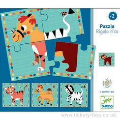 Four lovely four piece puzzles. Mix and match the tiger, camel, zebra and bear to make crazy animals! Design Amy Blay  Suitable From 2+ years Dimensions Puzzle size 13.5 x 13.5cm Brand Djeco Product Code DJ01556 Barcode 3070900015562