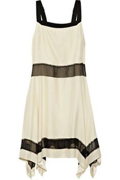 Rag & Bone Ivory / Black Silk Albion Sheer-stripe Dress