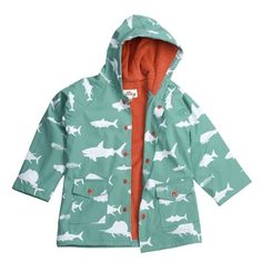 Hatley Hooded Terry-Lined Rain Coat (For Kids) in Game Fish