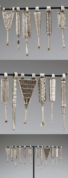 Ethiopia   Collection of 12 ear picks   Silver   ~ sold (May '13)