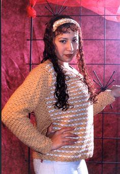 Jersey y Vincha para mujer en Tejido Crochet o Ganchillo
