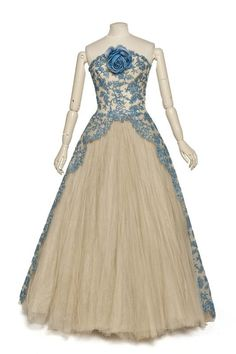 Evening Dress, Pierre Balmain: 1950-1959, French, synthetic lace and cotton