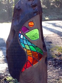 Detail of River Sculpture; stained glass by Alan Endacott (Diy Photo Art) Stained Glass Designs, Stained Glass Projects, Stained Glass Patterns, Stained Glass Art, Mosaic Art, Mosaic Glass, Glass Garden Art, Creation Deco, Driftwood Art