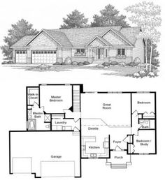 Yorkshire custom home designs and ranch style homes on for Rambler house plans with 3 car garage