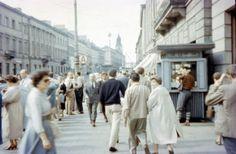 Warszawa 1958,Nowy Świat, w obiektywie Johna H. Schultza Kiosk, Street View