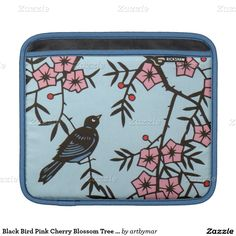Black Bird Pink Cherry Blossom Tree Branches Sleeve For iPads