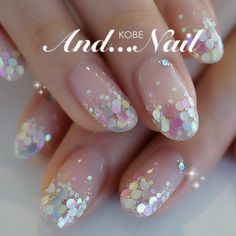 Love this sparkling mani perfect for spring or a unicorn inspired party. Trendy Nails, Cute Nails, Glitter Nails, Gel Nails, Pink Glitter, Confetti Nails, Korean Nail Art, Nagellack Design, Japanese Nails
