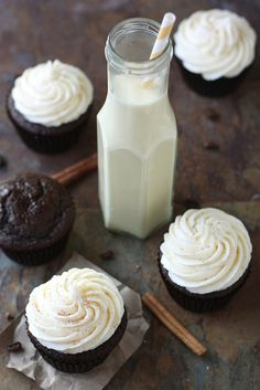 Spiced Chocolate Cupcakes with Eggnog Buttercream by Completely Delicious, via Flickr