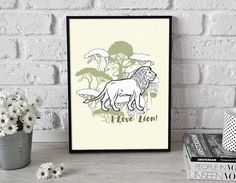Lion 3  printable poster  gift for him gift for her