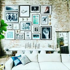 The home of Brooke Hammel and Jose Alvarez has everything you wish for in a industrial loft apartment. Exposed brick, lots of concrete and large windows. The couple asked Homepolish to completely desi New York Loft, Gallery Wall Layout, Gallery Walls, Gallery Gallery, Modern Gallery Wall, Modern Wall Decor, Classic Living Room, Living Room Trends, Interior Design Services