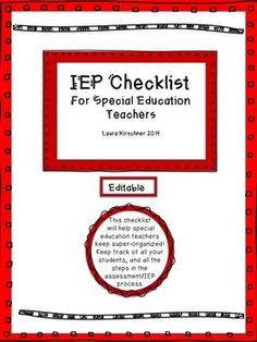 Freebie! IEP Checklist/Special Education