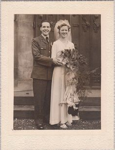Bride and groom, 1940s