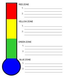 An activity page for students to identify how they are feeling in each of the four zones