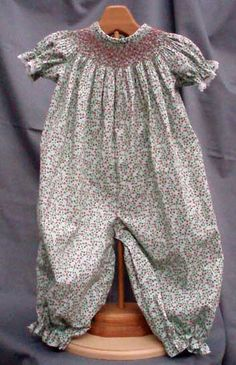 A sweet smocked bishop jumpsuit for fall. Maggie's Classics #348. Buy the pattern at our web store: www.continentalsewing.com.