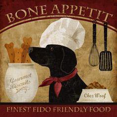 Als kok verklede hond met daarbij tekst: Bone Appetit Print van Conrad Knutsen bij AllPosters.nl