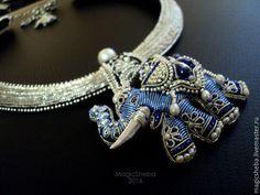 Купить Колье серебряное со Слоном, талисман, вышивка серебром - серебряный, брошь слон