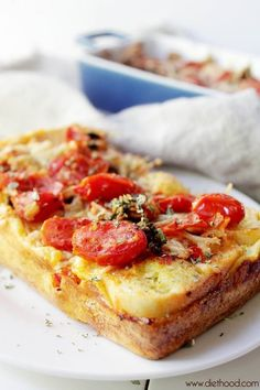 Caprese Bread Pudding - A mixture of tomatoes, basil, and mozzarella placed over crunchy baguette slices, then baked in a milk and egg mixture. Pudding Recipes, Bread Recipes, Cooking Recipes, Pasta Recipes, Mozzarella, Savory Bread Puddings, Sandwiches, Good Food, Yummy Food