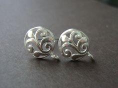 2 pcs, 13x9.5mm, Bali Artisan, Sterling Silver Leaf Scroll Ear Post Wires