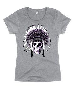 Love this Heather Gray Skull Headdress Tee on #zulily! #zulilyfinds