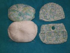 Baby diaper cover and hat, 1-3 mo size, made with 2 soft acrylic yarns, so it has a soft stretch to it. Adjustable waist due to stitch of pattern
