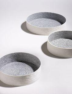 Colour and texture on inside. Unique shape Bowls by Lut Laleman