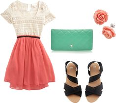 """""""coral and aqua"""" (not a huge fan of the top or shoes)"""